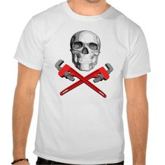 Plumber Skull: Crossed Wrenches Shirts. Plumbing graphics design for  plumbers. Black and white