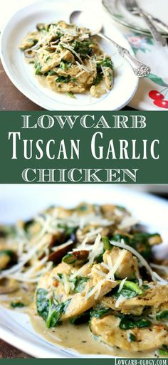 Easy, low carb Tuscan Garlic Chicken recipe is a taste of Italy, keto style! Similar to the Olive Garden Tuscan Chicken without the carbs. Tender chicken in a luxuriously creamy garlic sauce with olives and spinach. From Lowcarb-ology.com #lowcarb #italianfood #olivegarden #copycatrecipe via @Marye at Restless Chipotle