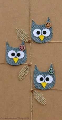 Artisanats Denim, Denim Art, Owl Crafts, Diy And Crafts, Arts And Crafts, Jean Crafts, Denim Crafts, Diy For Kids, Crafts For Kids