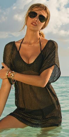 Emmy DE * L Space 2014 Threads Lighthouse Black Cover Up