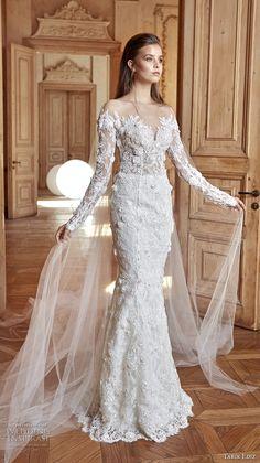 tarik ediz 2017 bridal long sleeves sweetheart neckline full embellishment elegant fit and flare wedding dress chapel train sweep train (26) mv -- Tarik Ediz White 2017 Wedding Dresses