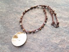 Hand Crochet Necklace, Mother of Pearl Pendant - brown hemp necklace, mother of pearl beads, coconut shell discs - boho necklace, hippie necklace, beach necklace - Liminal Horizons - liminalhorizons