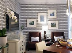 i don't think i would have the guts to wallpaper more than one wall, but i love the look in this room