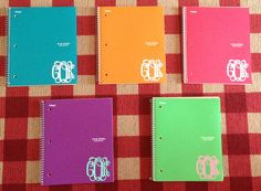 cute notebook monogrammed adhesives back to school ? Monogram School Supplies, Back To School Supplies, Personalized School Supplies, Back 2 School, Middle School, High School, School Store, School Hacks, School Goals