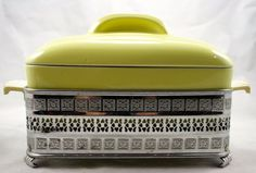 Vintage Hall Covered Refrigerator Dish with Chrome Server by LuckySevenVintage, $30.00
