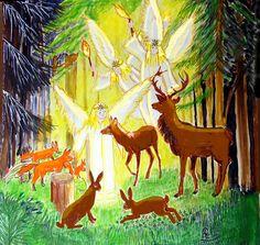 Engelsbesuch und die Tiere sprechen am heiligen Abend.