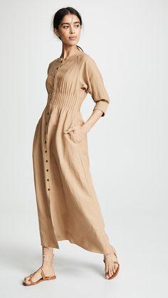 Cream Midi Dress, Vintage Dresses, Vintage Outfits, Size 0 Models, Boho Fashion, Fashion Outfits, Fashion Design Portfolio, Mara Hoffman, Winter Coats Women