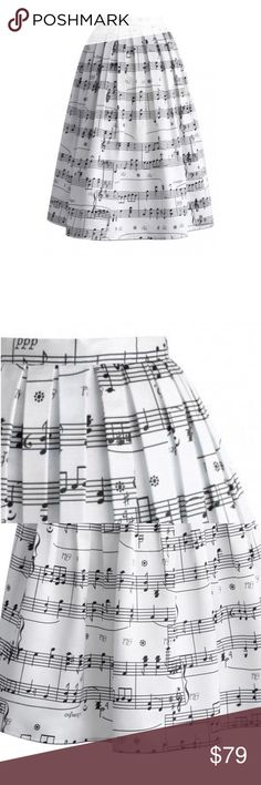 Chicwish Dancing w/ Music Notes Pleated Midi Skirt Used in Excellent Condition/ No Trades/ No PayPal/ Smoke & Pet Free Home/ Please Ask Questions!/ Like what you see but the price too high? Make an offer!/ offers on bundles are welcome! Chicwish Skirts Midi