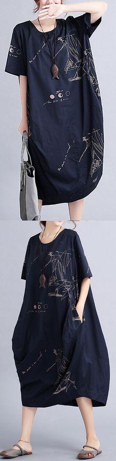 New-black-linen-knee-dress-oversized-linen-clothing-dress-2018short-sleeve-prints-linen