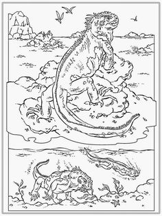 Iguana coloring page Crafts for Kids Pinterest