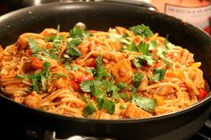 Chicken Enchilada Spaghetti-Italian and Mexican Love Child. I highly, highly recommend this dish.