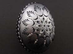 Easter Egg in Silver,  Polish Pysanka on Chicken Egg, Hand Painted Pysanky