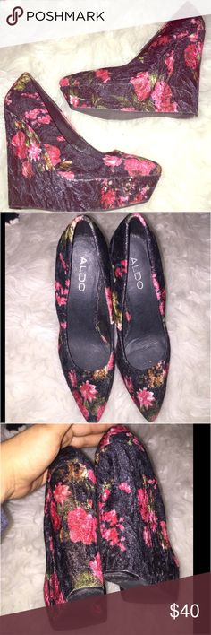 Sz.7 Aldo Floral/Black print velour wedges Pre loved in GUC. These 5 inch Sz.7 Aldo Floral/Black print velour wedges are so sassy & pretty. All flaws shown, I only used these maybe 5 times. Summer nights.... ALDO Shoes Wedges
