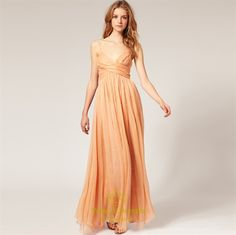 Picture of Chiffon Empire Waist Bridesmaid Dress, Long Chiffon Bridesmaid Dress. This would look great on my ladies in dark cream or butter.