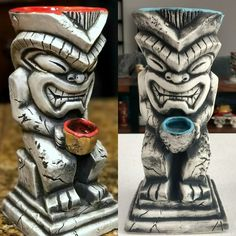 2 Red Lava and 7 Blue Lava Idol Tiki Mugs available at KahunaKevin.com - Marked down to $69.99 while inventory lasts. These make an awesome pair of mugs. Mahalo for your business! -KK  #kahunakevin #smallbusiness #books #shopping #giftideas #gifts #madeinusa #tiki #tikimugs #mugs #presents #drinkware #cocktailbooks #cocktails #drinks #bartending #barware #coolgifts #gifsforhim #straws #ceramic #usbg #tikibar #homebar #bar #craftcocktails #tikiasfuck #summer #tikiparty #instacool
