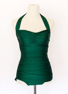 $90 Bathing Beauty Emerald Vintage Green Esther Williams Mod Pinup Girl Swimsuit | eBay