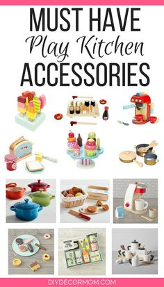 The CUTEST wooden play food perfect for play kitchens! Love these wooden play kitchen accessories!