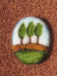 Items similar to Needle Felted Brooch - Mini Wool Painting - From Israel on Etsy Wool Needle Felting, Needle Felted Animals, Wet Felting, Felt Animals, Felt Diy, Felt Crafts, Felted Soap, Felt Pictures, Felt Brooch
