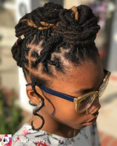 Little Black Girls Hairstyles : (notitle) Short Dreadlocks Styles, Dreadlock Styles, Locs Styles, Kids Dreads, Dreads Girl, Dreadlock Hairstyles, African Hairstyles, Ponytail Hairstyles, Afro