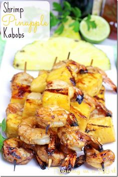 Shrimp Pineapple Kabobs - clean eating grilling recipe! Only 6 ingrediants! | Running in a Skirt