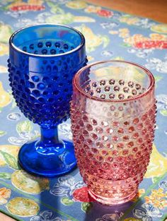 Collectible Hobnail Tumblers and Goblets, Handmade From American-Pressed Glass