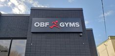 """""""Custom raised reception sign and aluminium face box with frosted vinyl logos on windows for """"OBF Gyms"""". Reception Signs, Toronto, 3d, Face, Projects, Design, Log Projects, Faces, Design Comics"""