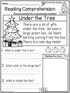 December Christmas reading comprehension passages for young readers. Great for Kindergarteners and First Graders.