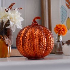 Orange Glass Dimpled Pumpkin | Kirklands