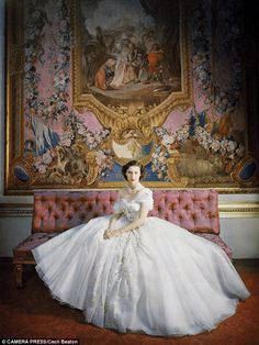 Cecile Beaton's portrait of Princess Margaret wearing Dior in 1955. Would have made a stunning #weddingdress.