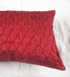 Deep red pleated oblong pillow  with dull gold bead work. boudoir pillow, long pillow