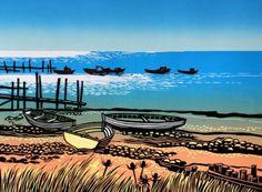 Seashore in the Sun - unframed - Rob Barnes - Southwold Gallery