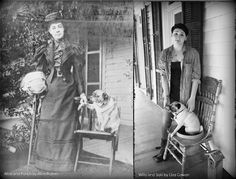 Alice Austen and her pug dog Punch. Self portrait on the front porch of her home, Clear Comfort circa 1895. Willa and Saki on the porch  at Clear Comfort, now the Alice Austen House Museum 2012, ©Liza Cowan.