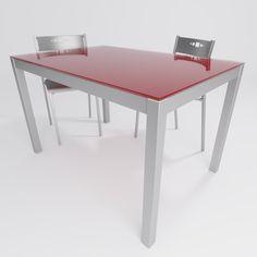 Mesa de cocina en cristal en versión fija con diferentes alturas disponibles