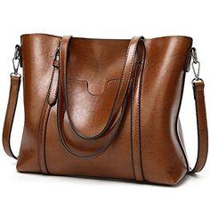 702c4d389bab Women bag Oil wax Women s Leather Handbags Luxury Lady Hand Bags With Purse  Pocket Women messenger bag Big Tote Sac Bolsos Mujer