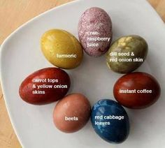 Natural Egg Dyes How to make natural egg dyes: •  Wash hard-cooked (boiled) eggs in warm soapy water to remove any oily residue that may impede the color from adhering to the eggs. Let eggs cool...