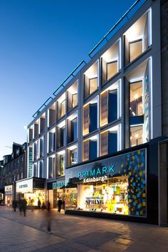 Primark, Princes Street, Edinburgh. This 70,000 ft2 6-storey building was designed to respect the scale and character of the World Heritage Site and New Town Conservation Area while establishing a clear, contemporary identity to showcase the Primark brand. As a flagship store for a leading retailer, the building provides Edinburgh with a much needed catalyst for the retail-led regeneration of Princes Street.