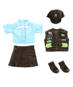 Pink Butterfly Closet Brown Girl Scout Vest Doll Uniform Set | zulily