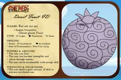Cf. One Piece Wikia Devil Fruit (悪魔の実, Akuma no Mi) = a mystical fruit found in the world of One Piece that can give the eater many different and varying kinds of strang...