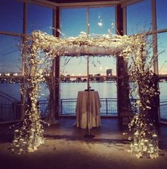 Wedding arch-like design with lights/branches