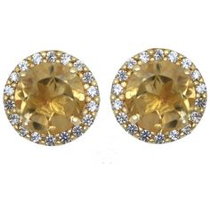 Genuine Citrine and Lab-Created White Sapphire Halo Earrings ($130) ❤ liked on Polyvore featuring jewelry, earrings, stud earrings, round earrings, button earrings, citrine earrings and white sapphire earrings