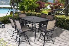 New Pebble Lane Living All Weather Rust Proof Indoor/Outdoor Powder Coated Aluminum Patio Bar Dining Set, 1 Slat Top Bar Table & 6 Swivel Wicker Bar Arm Stools All Season Cushions, Black/Grey online shopping - Proalloffer Patio Bar Table, Outdoor Patio Bar Sets, Outdoor Bar Stools, Patio Lounge Chairs, Patio Dining, Dining Set, Indoor Outdoor, Sectional Patio Furniture, Patio Furniture Sets
