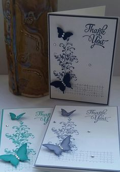 Stampin' Up! Demonstrator stampwithpeg – Timeless Textures and Elegant Butterflies I wanted to make sure the cards I was doing were quick so timed myself with these. From start to finish it t…