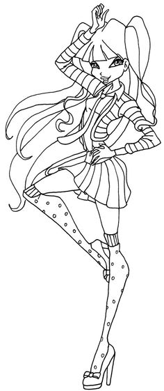 A Coloring Page Of Musa In Her School Outfit From Season 5 Winx Club
