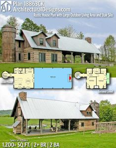 This rustic house plan has a large outdoor living area and a stair silo. Over half of the structure on the main floor is dedicated to a covered outdoor living area. Two pairs of French doors take you… Rustic House Plans, Barn House Plans, House Floor Plans, House Plans With Pool, Rustic House Design, Unique Small House Plans, Dog Trot House Plans, Small Rustic House, Small Farmhouse Plans