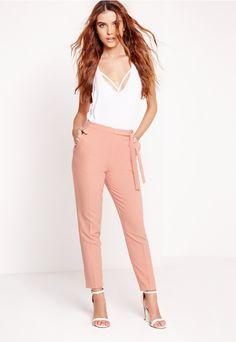 Tie Belt High Waist Cigarette Trouser Pink - Missguided