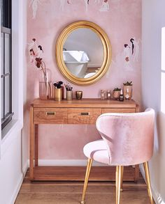 36 Makeup Vanity Table Designs To Decorate Your Home Wooden Makeup Vanity Table With Pink Chair Wooden Makeup Vanity, Makeup Table Vanity, Vanity Tables, Vanity Ideas, Makeup Vanities, Small Vanity Table, Makeup Tables, Bathroom Vanities, Decorating Your Home