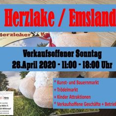 Finde alle Details zur Veranstaltung ✶ Herzlake verkaufsoffen Kunst, Trödel, Bauernmarkt - Großer Verkaufsoffener Sonntag ✶ am Sonntag den 26.04.2020 in herzlake Lord Of The Dance, Events, Places, Farmers Market, Beauty And The Beast, Heart, Kunst, Lugares