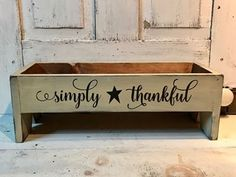 Simply Thankful Primitive Wood Table Riser/Box- Sayings and Color Options Old Tool Boxes, Wooden Tool Boxes, Wood Boxes, Primitive Homes, Primitive Crafts, Country Primitive, Primitive Furniture, Country Furniture, Country Decor