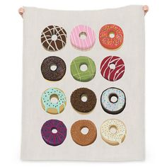 Donut Lover Beach Throw (770 MAD) ❤ liked on Polyvore featuring home, bed & bath, bedding, blankets, rainbow bedding and rainbow blanket