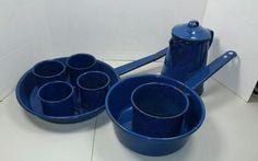 VINTAGE PORCELAIN ENAMELWARE METAL PAN Pot Cup Coffee 9 PC Blue Cookware Camping